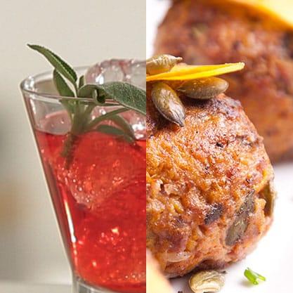 Antipasto sfizioso con finger food alla zucca e cocktail a base di Sanbittèr rosso