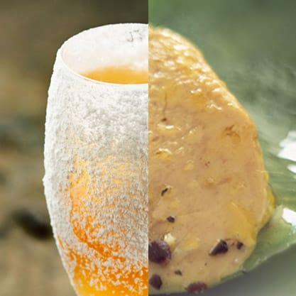 Mix di colori e sapori per l'aperitivo con il cocktail Bubblywood e appetizer ai carciofi e fonduta di formaggio