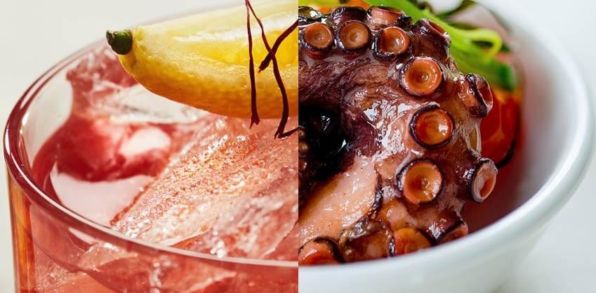 Caipibitter e bicchierini di polpo con salsa al melograno