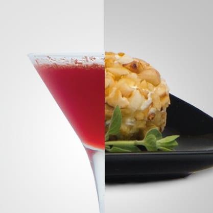 Choco Bitter e tartufini al formaggio e frutta secca, un cocktail la cui dolcezza si sposa con un appetizer originale