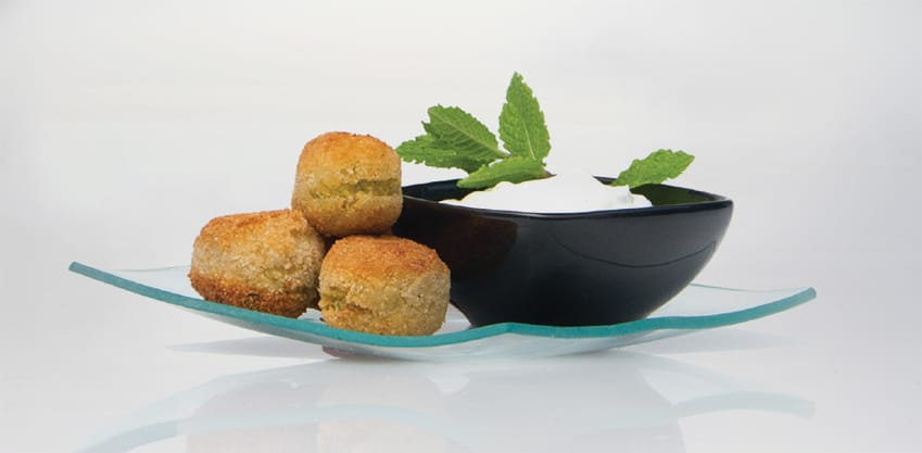 Crocchette di ceci al curry con salsa allo yogurt