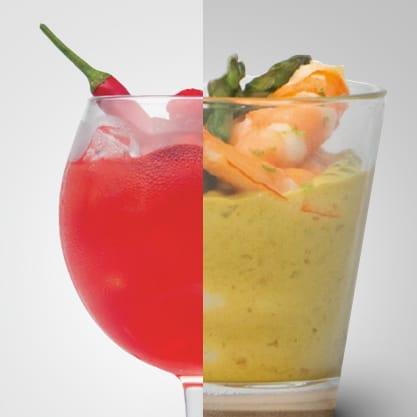 Fresh & Spicy e bicchierini con gamberi in salsa di cocco, l'incontro tra terra e mare in un appetizer al cucchiaio