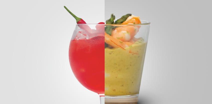 Fresh & Spicy e bicchierini con gamberi in salsa di cocco