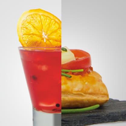 Orange Smile e sfogliatine con crema di pomodorini, fontina ed erba cipollina, un mix sifizioso al gusto Sanbittèr