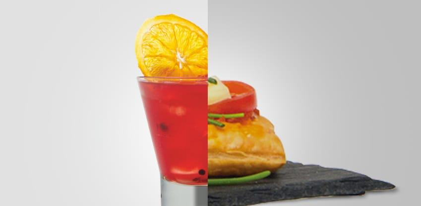 Orange smile e Sfogliatine con crema di pomodorini, fontina ed erba cipollina