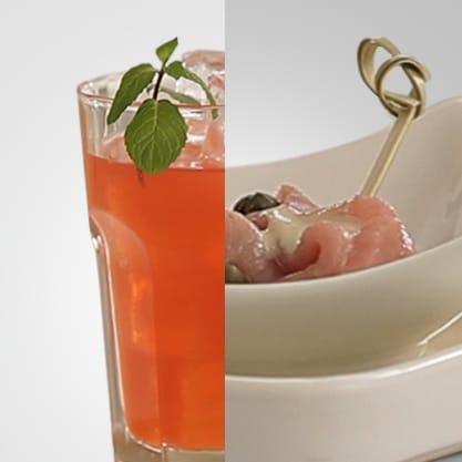 Pompelmo Crush e rosa di vitello tonnata, un aperitivo sfizioso e colorato con un tocco di Sanbittèr