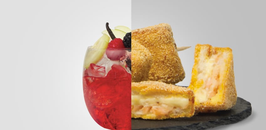 Punch bitter e Spiedini di mozzarella in carrozza con maionese all'arancia