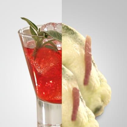 Red Sage e Tempura di salvia e prosciutto, il rosso di Sanbittèr diventa il colore di un appetizer croccante