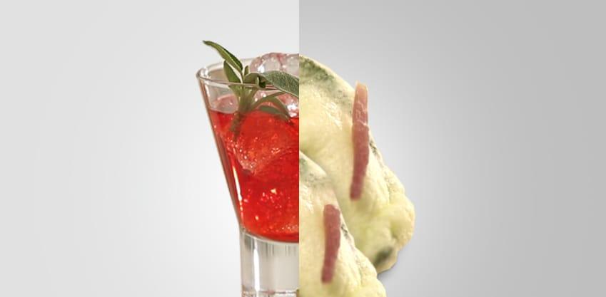 Red sage e tempura di salvia e prosciutto