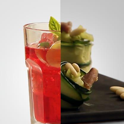 Red Stringer e cannelloni di zucchine, il rosso e il verde per un aperitivo italiano dal sapore vivace
