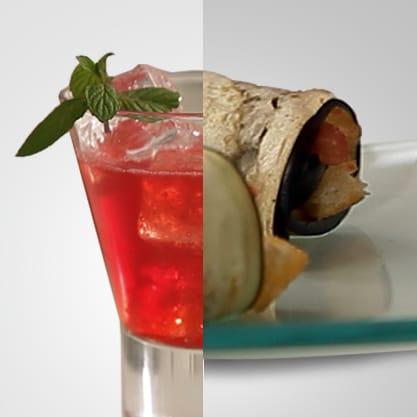 Rosso Fresh, il vero aperitivo Sanbittèr, accompagnato da rotoli di melanzane, un finger food classico e vivace