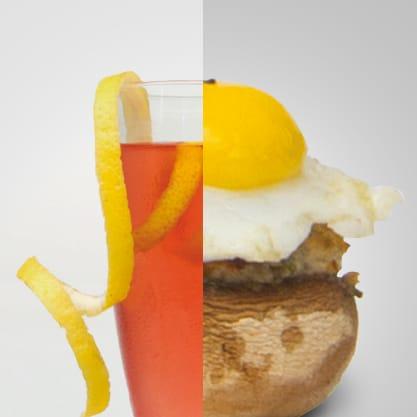 Royal Bitter e teste di champignon ripiene con uova di qualgia, Sanbittèr Dry per un aperitivo per palati raffinati