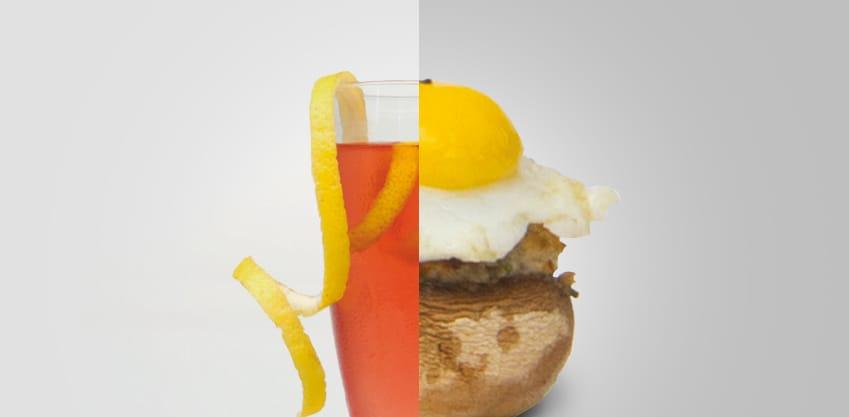 Royal Bitter e Teste di champignon ripiene con uova di quaglia