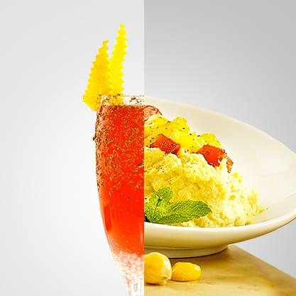 Silver Kiss con Sanbittèr Emozioni di Spezie Peperoncino e bicchierini con crema di ceci e peperoni bicolore