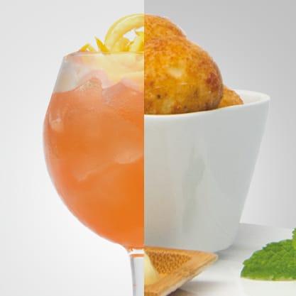 Smoky Fizz e polpette di patate e salmone affumicato con maionese alla menta, un aperitivo allegro firmato Sanbittèr