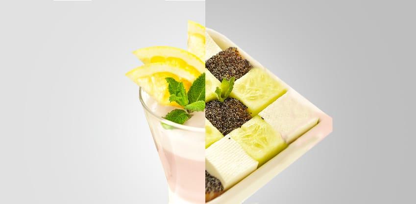 Sorbitter al pompelmo e cube salad