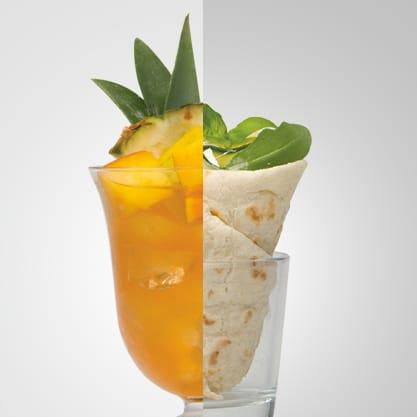 Tropical Bitter e coni di piadina veggy, la semplicità della piadina e un cocktail Sanbittèr vivace dal gusto tropicale